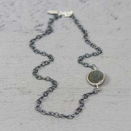 Jeh Jewels 19915 - Collier zilver met een asymmetrische Labradoriet