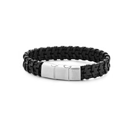 Black braided leather bracelet with stainless steel closure