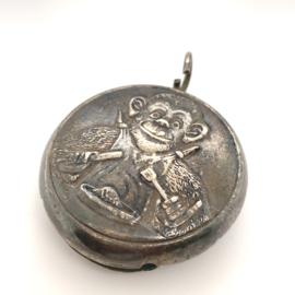 Occasion zilveren rammelaar met aap