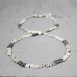 Jeh Jewels 13873 - Collier 45 cm zilver blokjes + oxy