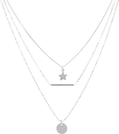 Lovenotes multi-layercollier - zilver - gourmet-, bolletjes-, ankerschakel - rondje - staafje - ster 43 + 2 cm