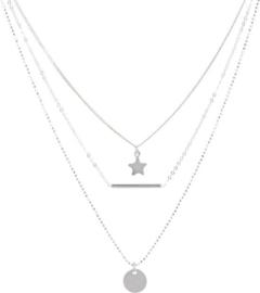 Lovenotes multi-layercollier - zilver - gourmet-, bolletjes-, ankerschakel - rondje - staafje - ster 43 + 2 cm