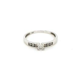 Occasion witgouden ring met 7 diamantjes 0.11ct, SI - F