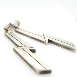 Occasion lange, moderne zilveren oorbellen