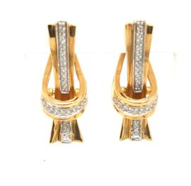 Occasion geelgouden klap oorstekers met 0.43ct diamant