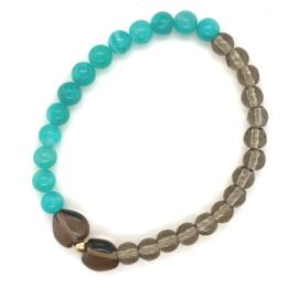 Cataleya armband met rookkwarts en amazoniet