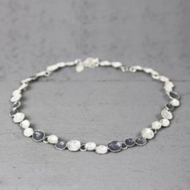 Jeh Jewels 19781 - Collier bubbeltjes zilver oxy / wit