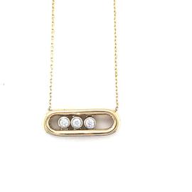 Occasion geelgouden hanger aan collier met beweegbare diamant 0.12ct