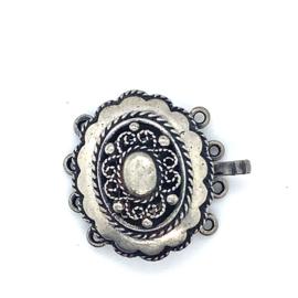 4-Snoer zilveren ovale sluiting