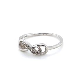 Occasion fijne witgouden infinity ring met diamantjes