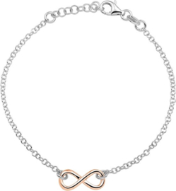 The Fashion Jewelry Collection Armband Infinity 2,1 mm 17 + 2 cm - Rosékleurig infinity symbool