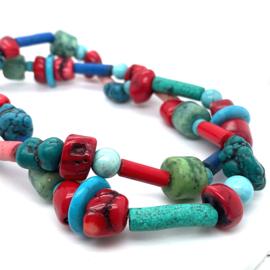Handgemaakt kleurrijk edelstenen collier