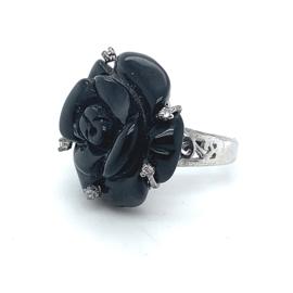 Occasion ring met zwarte onyx edelstenen roos