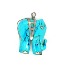 Occasion olifant hanger van turkoois