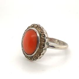 Occasion zilveren ring koraal en markasiet