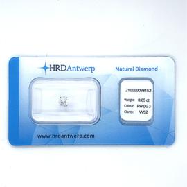 HRD Diamant - 0.65 ct. - briljant - G / VVS2