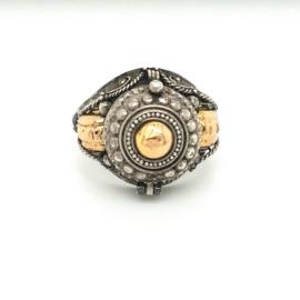 Occasion zilveren sultan ring  met goud