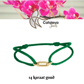 Cataleya jewels Satijnkoord armband schakel breed