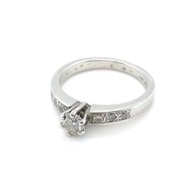 Occasion witgouden solitair ring met diamant 0,52ct