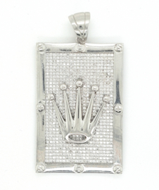 Zilveren hanger kroon Crown Collectie met zirkonia's
