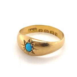 Occasion gouden toelopende ring met turkoois
