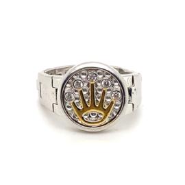 Zilveren zegelring Crown Collectie met schakelband