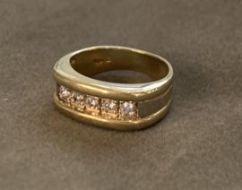 Occasion geelgouden ring met 5 diamanten 0.15ct