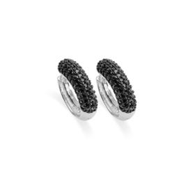 AG925 Zilveren oorbellen klapcreolen met zwarte zirkonia