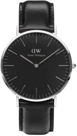 Daniel Wellington DW00100133 Classic Black Sheffield - Horloge - Leer - Zwart - Ø 40 mm