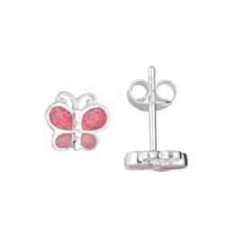 oorknopjes vlinder - zilver - glitter - roze