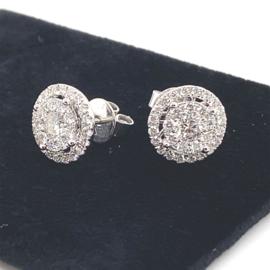 Witgouden entourage oorknoppen bezet met diamant 1.60ct VSI F-G