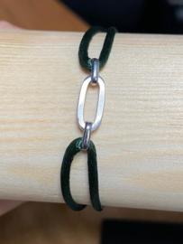 Zilver/ru/ny armbanden dames en heren poli/fantasie - groen