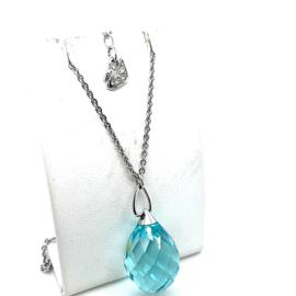 Occasion Swarovski collier met blauwe kristal hanger