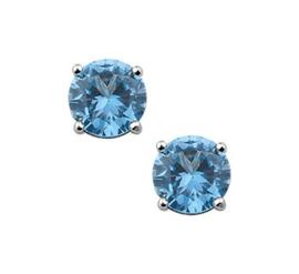 Oorknoppen zirkonia blauw 6 mm