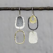 20014 - Oorhanger verschillend zilver oxy + zilver verguld