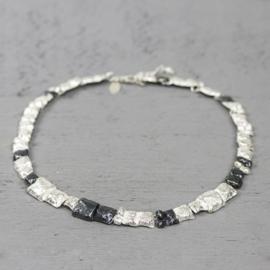 Jeh Jewels 19887 - Collier zilver oxy met vierkantjes