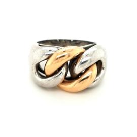 Occasion ring van zilver en 14k roodgoud
