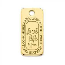 Mi Moneda Love Life Tag Square 925 Silver Gold Plated