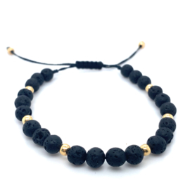 Fijne 14K gouden touwtjes armband met lava stenen
