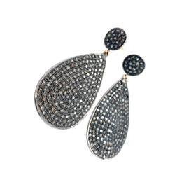 Occasion zilver en gouden oorbellen met natuurlijke diamant