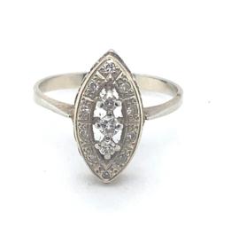 Occasion gouden ring met diamant 0.22ct