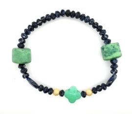Cataleya armband met jade, lapis lazuli, agaat en goud