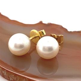 Occasion parel oorbellen 9mm met goud