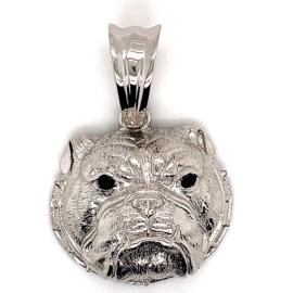 Zilveren grote hanger van een bulldog