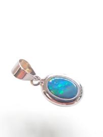 Occasion witgouden hanger met opaal