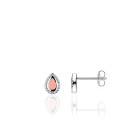 AG925 Zilveren oorbellen met roze druppel zirkonia
