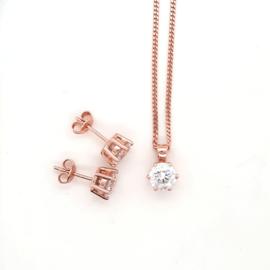 Set zilver roséplated solitair zirkonia 7mm