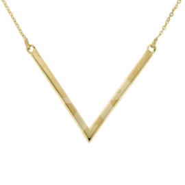 Gouden Symbol Chain 'V' Scherp 42-45 cm