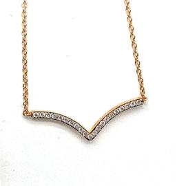 Moondrops collier roségoud met diamant