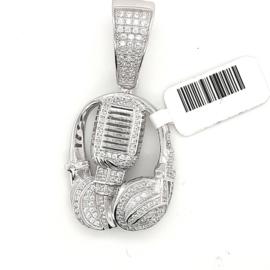 Occasion zilveren hanger microfoon headphone